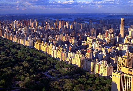 New york city central park skyline aerial view