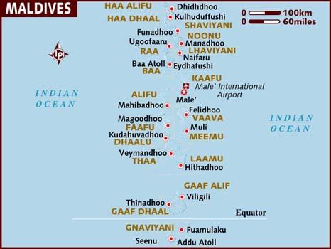 Maldives Hotel Map The Maldives: Pa...